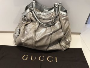 Gucci Carry Bag silver-colored leather