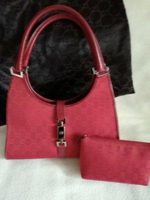 Gucci Sac à main rouge carmin fibre textile