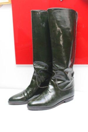 Gucci Vintage Leder Slouch Stiefel Lack Schwarz dkl Grün 36 wie neu