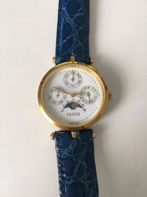 Gucci Watch With Leather Strap gold-colored-blue stainless steel