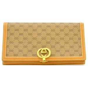 Gucci Portefeuille brun fibre textile