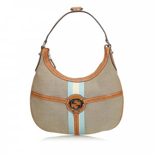 Gucci Web Canvas Reins Hobo Bag