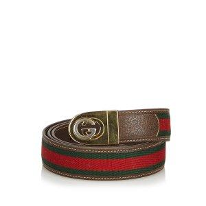 Gucci Web Leather Belt