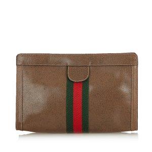 Gucci Web Leather Clutch Bag