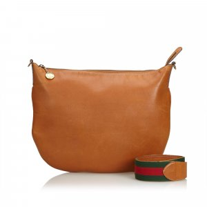 Gucci Web Leather Shoulder Bag