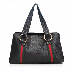 Gucci Web Leather Tote Bag