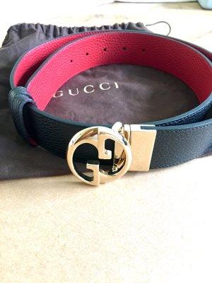 Gucci Cinturón reversible negro-rojo Cuero