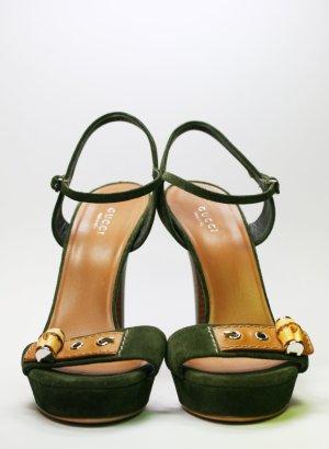 GUCCI Wildleder Stilettos oliv 39,5