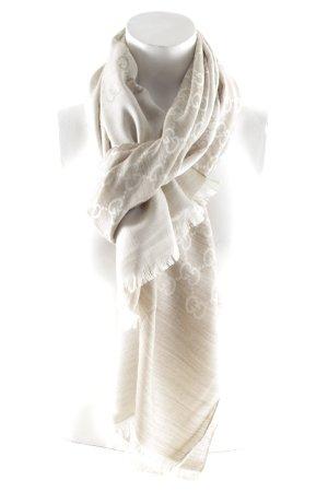 Gucci Wollschal beige-creme Allover-Druck Elegant