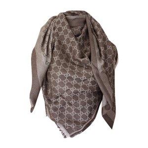 Gucci XL Tuch aus Wolle und Seide, Guccissima, Braun/Beige