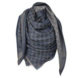 Gucci XL Tuch aus Wolle und Seide, Guccissima, Dunkelblau-Beige