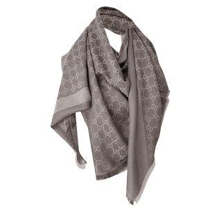 Gucci XL Tuch aus Wolle und Seide, Monogram GG, Braun-beige