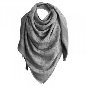 Gucci XL Tuch aus Wolle und Seide, Monogram GG, Grau