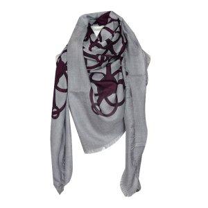 Gucci XL Tuch mit Muster, Grau und Bordeaux