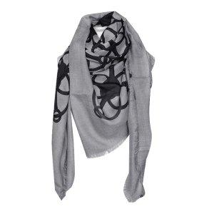 Gucci XL Tuch mit Muster, Grau und Schwarz