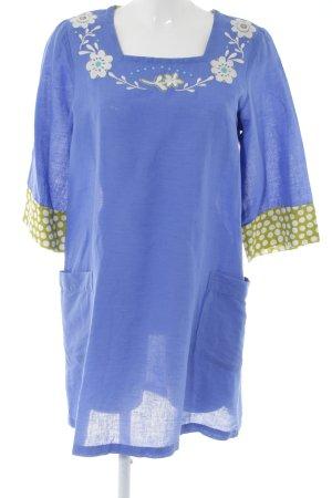 Gudrun Sjöden A-Linien Kleid neonblau Blumenmuster Transparenz-Optik