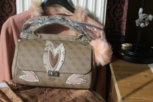 Guess Handbag bronze-colored-light pink imitation leather