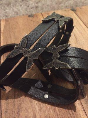 Replay Cinturón doble negro-color plata Cuero