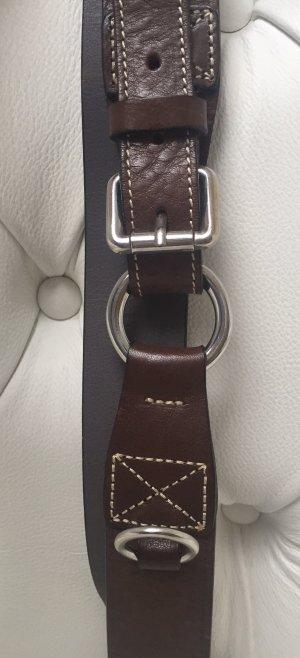 Marc O'Polo Cinturón de cuero marrón oscuro Cuero