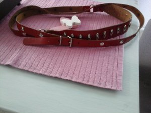 Double Belt silver-colored-brick red