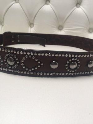 Hugo Boss Cintura borchiata marrone scuro-antracite