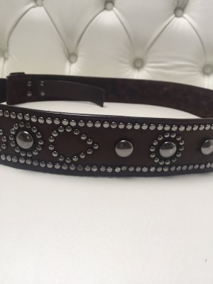 Hugo Boss Studded Belt dark brown-anthracite leather