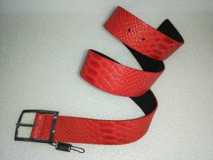 Vanzetti Cintura di pelle rosso chiaro