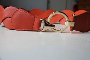 Braided Belt carmine-gold-colored leather