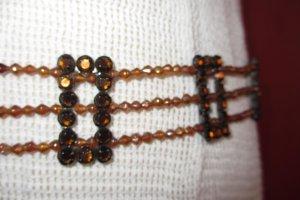 Belt light orange-black metal