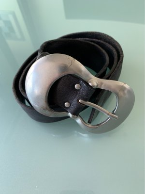 Liebeskind Berlin Leather Belt black-silver-colored