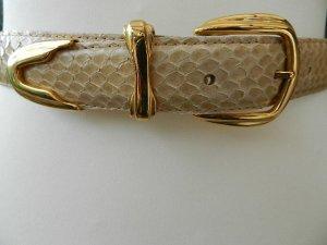 Ceinture en cuir beige clair reptiles