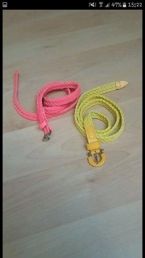H&M Cintura in ecopelle giallo-rosa