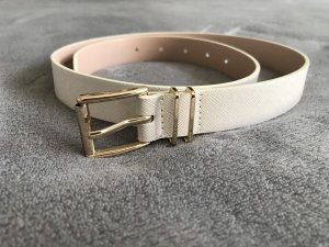 H&M Cinturón de cuero de imitación crema