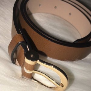 H&M Leather Belt brown-gold-colored