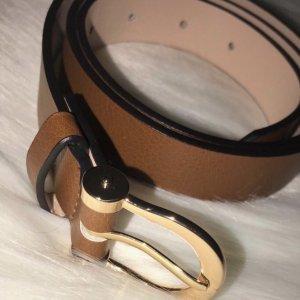 H&M Lederen riem bruin-goud