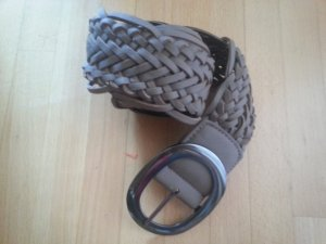 Braided Belt grey brown imitation leather