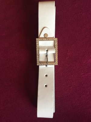 Faux Leather Belt white-silver-colored