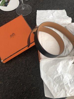 Hermès Omkeerbare riem zwart-cognac