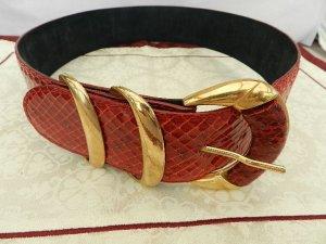 Gürtel ,hochwertiges, echtes Schlangenleder Unikat - rot - Hand gearbeitet