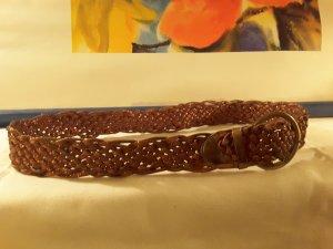 Gürtel in geflochtenem Kunststoff, bronze glänzend , Länge 110, Breite 5 cm