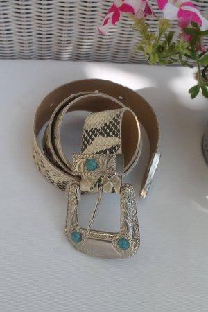 Gürtel in Schlangen - Optik * Reptil * Steine * Türkis * kaum getragen *