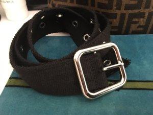 Bershka Cintura in tessuto nero-argento