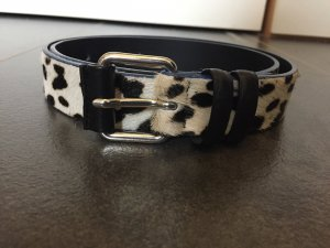 Maje Leather Belt black-white