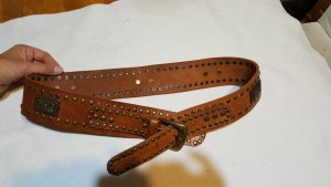 Studded Belt cognac-coloured leather