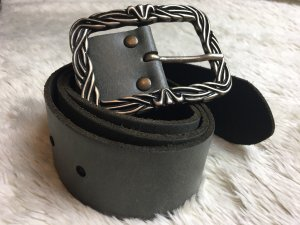 Tom Tailor Cinturón de cuero gris oscuro