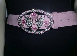Gürtel Leder Ledergürtel Hüftgürtel Taillengürtel rosa Rosenschnalle oval rot silber 4cm breit, 70cm lang