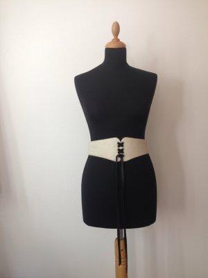 Topshop Leather Belt oatmeal-black leather