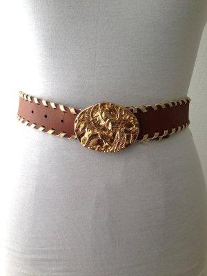Gürtel mit goldener Schnalle aus echtem Leder von H&M, Gr. S