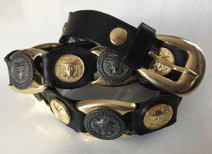 Leather Belt black-gold-colored