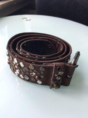 Gürtel mit Nieten und Steinen besetzt braun Leder 85 cm